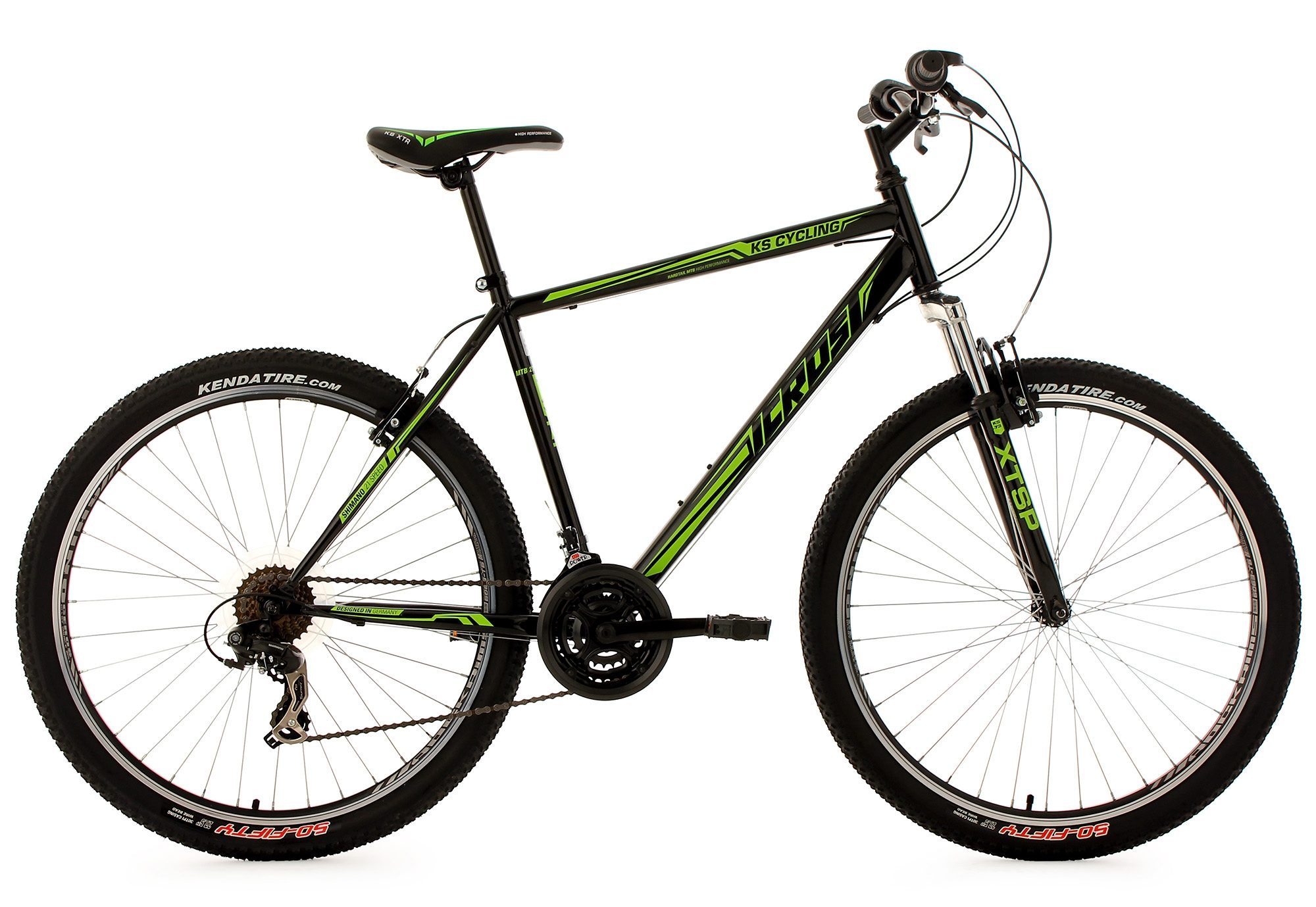 KS Cycling Hardtail-Mountainbike, 27,5 Zoll, schwarz-grün, 21 Gang-Kettenschaltung, »Icros«