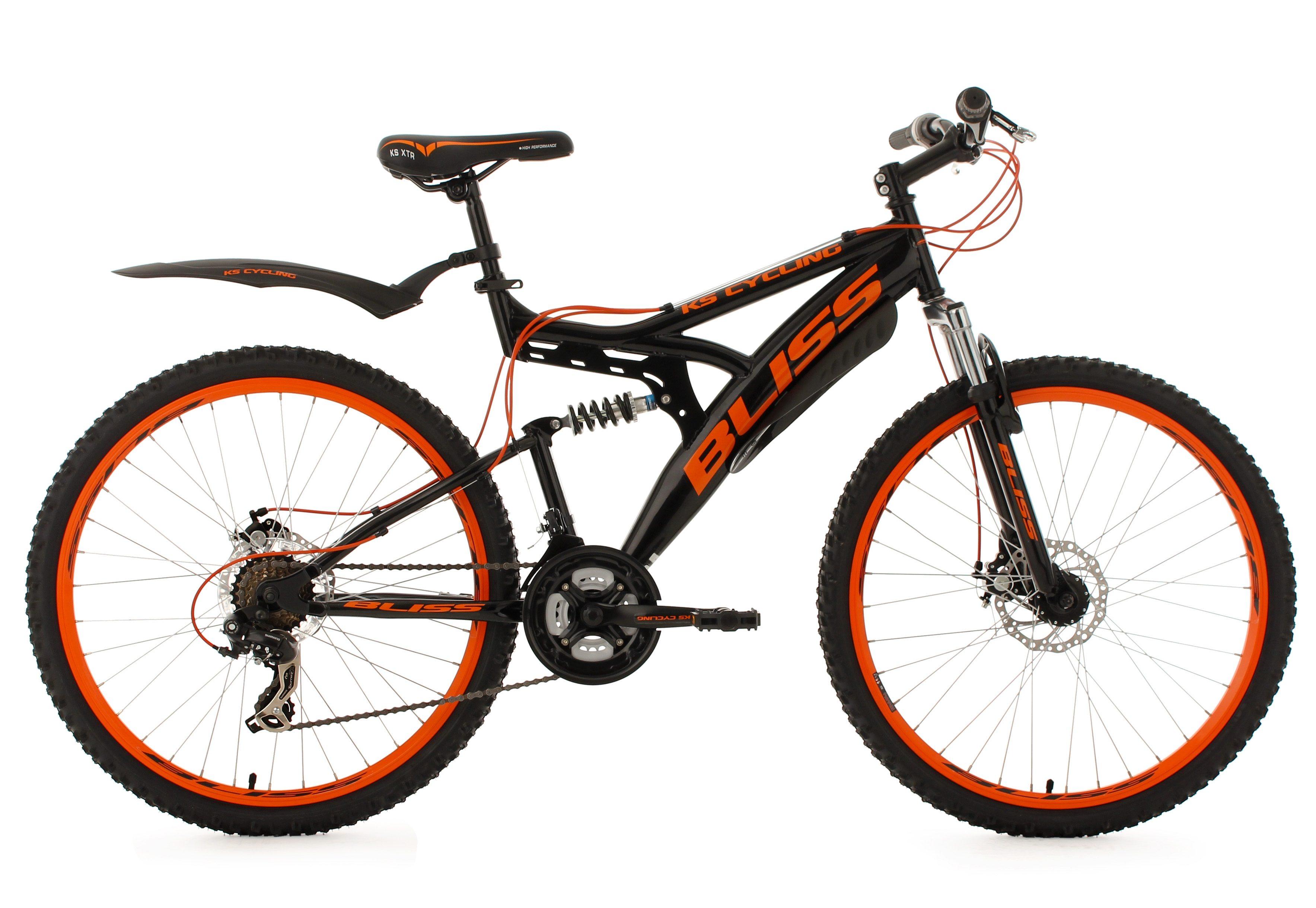 KS Cycling Fully-Mountainbike, 26 Zoll, schwarz-orange, 21 Gang-Kettenschaltung, »Bliss«