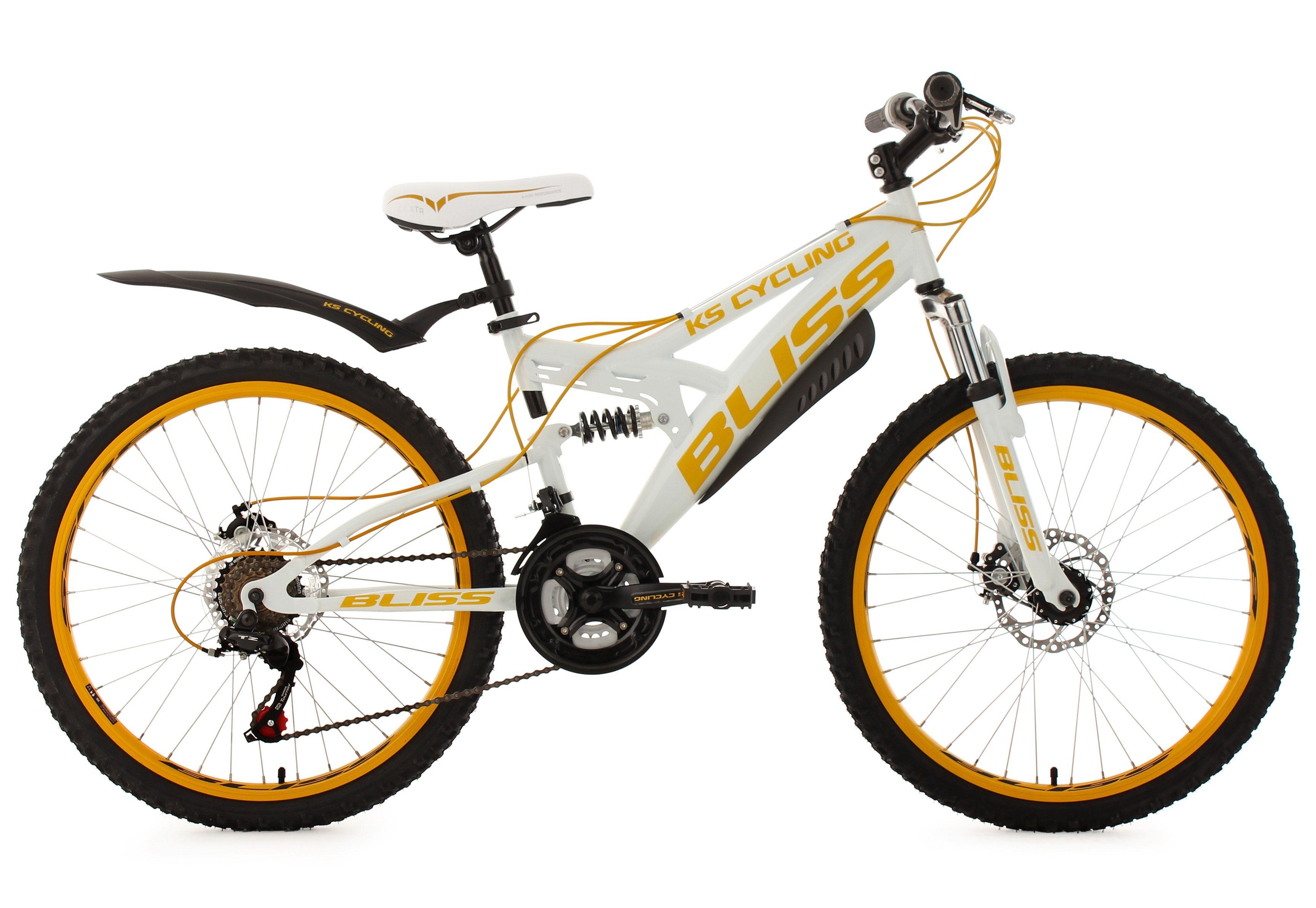 KS Cycling Fully Jugend-Mountainbike, 24 Zoll, weiß-gelb, 18 Gang-Kettenschaltung, »Bliss«