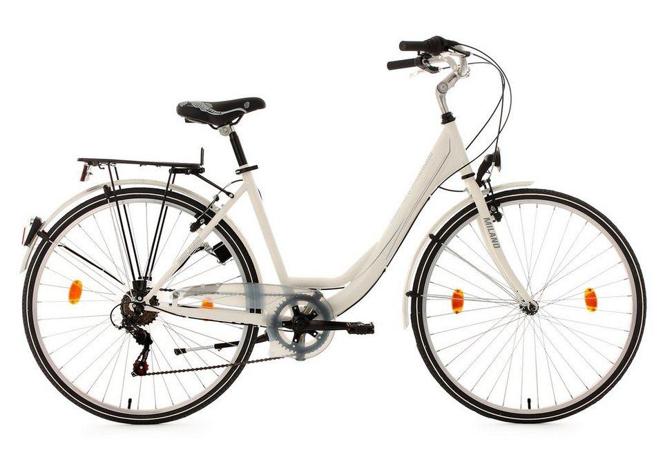 KS Cycling Damen Cityrad, 28 Zoll, weiß, 6 Gang-Kettenschaltung, »Milano« in weiß
