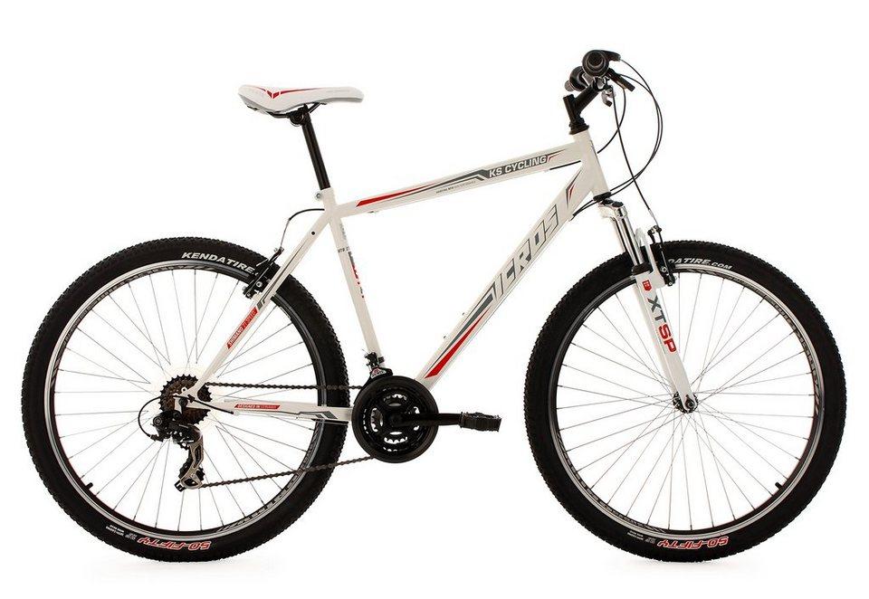 KS Cycling Hardtail-Mountainbike, 27,5 Zoll, weiß-rot, 21 Gang-Kettenschaltung, »Icros« in weiß-rot