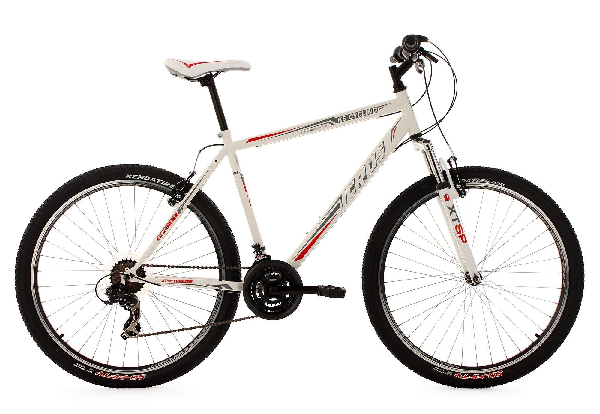 KS Cycling Hardtail-Mountainbike, 27,5 Zoll, weiß-rot, 21 Gang-Kettenschaltung, »Icros«