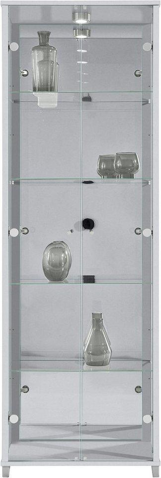 Vitrine, 2-türig mit Spiegelrückwand, 4 Glasböden in silberfarben