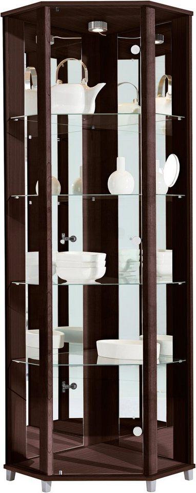 Eckvitrine, Höhe 172 cm, 4 Glasböden | Wohnzimmer > Vitrinen > Eckvitrinen | Braun | OTTO