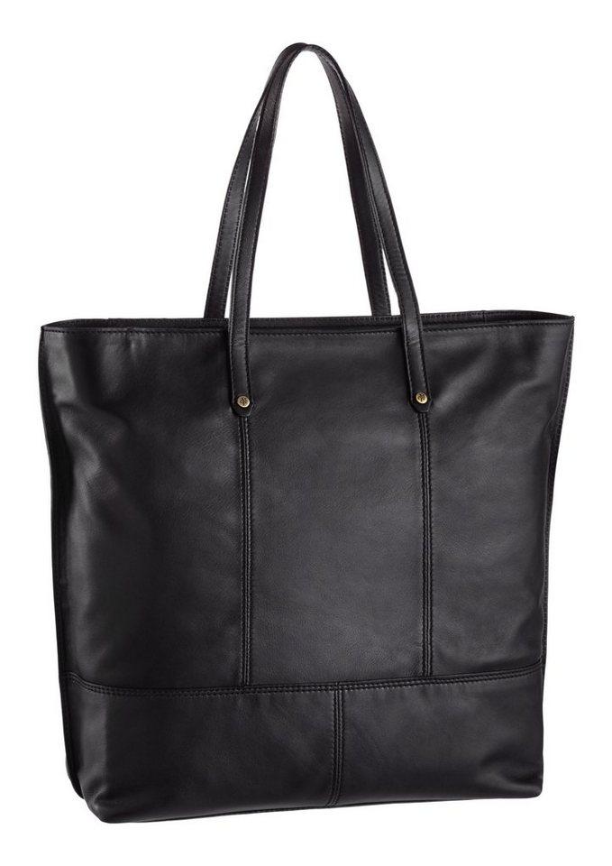 Marc o `Polo Shopper mit schönen Ziernähten aus Leder in schwarz