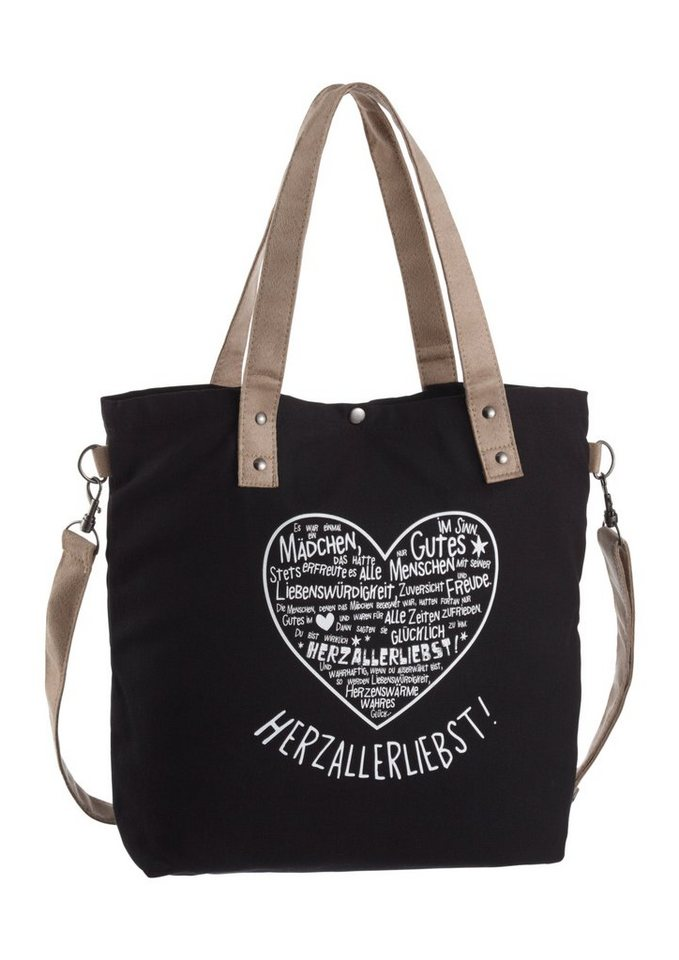 Adelheid Shopper mit Printbild in graphit