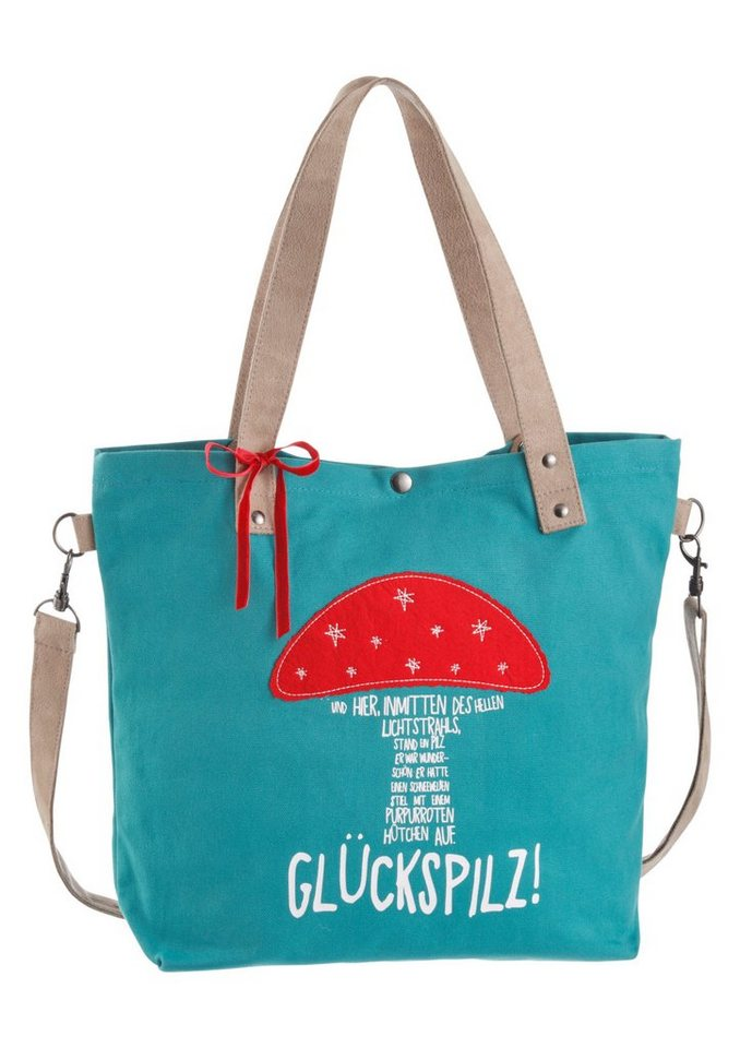 Adelheid Shopper mit Print in petrol