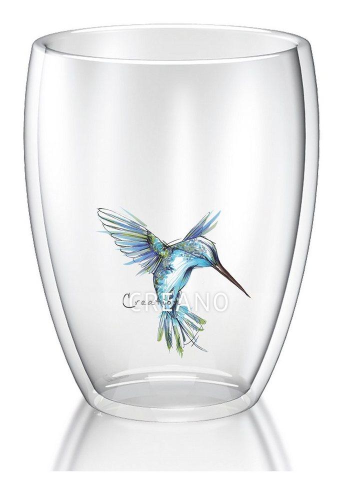 Creano Thermo-Glas, 250 ml, »Kolibri« in transparent/blau