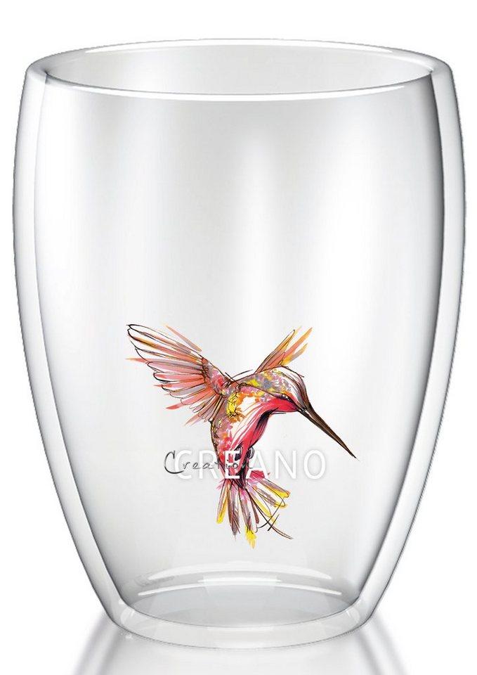 Creano Thermo-Glas, 250 ml, »Kolibri« in transparent/rot