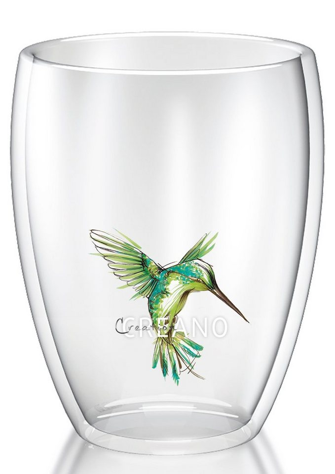 Creano Thermo-Glas, 250 ml, »Kolibri« in transparent/grün