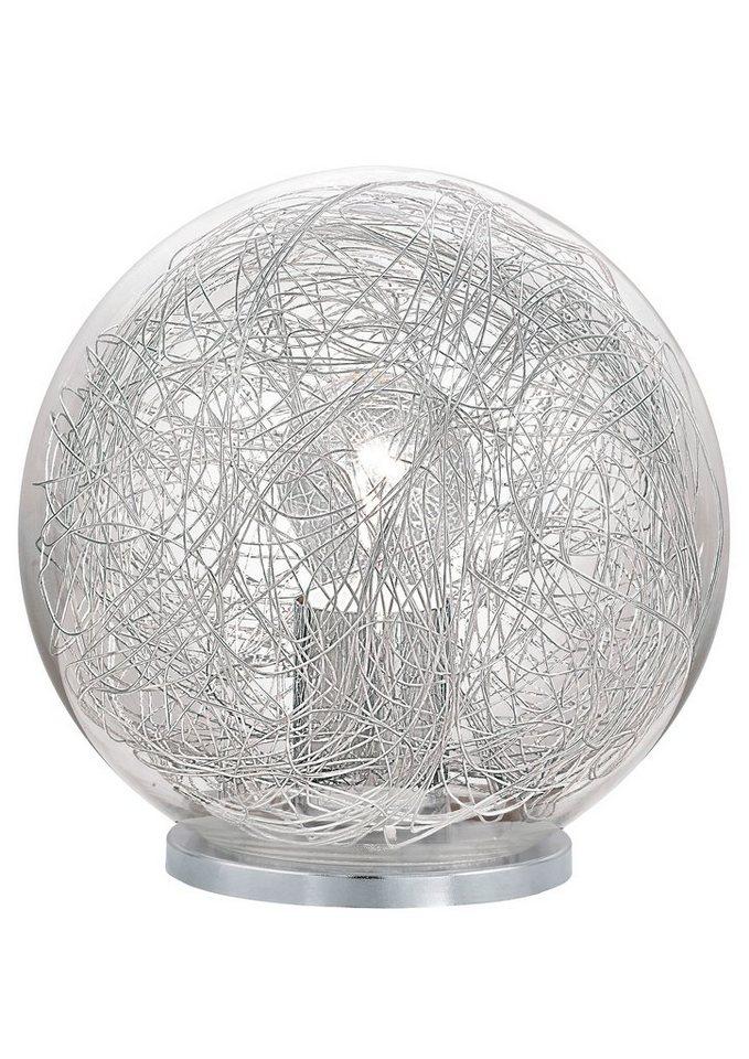 Tischleuchte, 1flammig in Leuchte, Kunststoff, silber, Schirm aus Glas/Alu