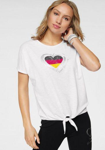 STOOKER WOMEN Rundhalsshirt mit Tricolor-Herz-Print, Fanshirt EM 2021