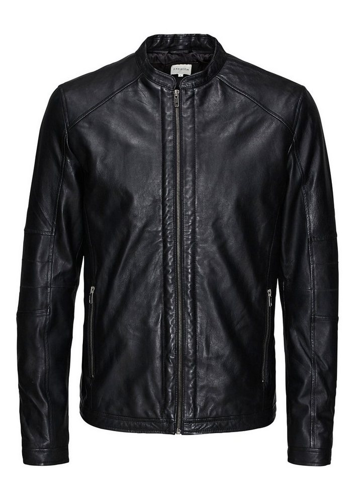 Jack & Jones Klassische Biker Lederjacke in Black