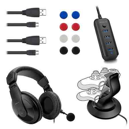 SPEEDLINK Ladestation, Headset, Ladekabel, USB-Hub, Analogstick-Aufsätze »PS4 Zubehör-Set«