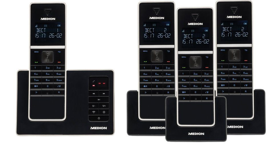 MEDION® DECT Telefon mit 4 Mobilteilen »LIFE® P63994 (MD 84994)«