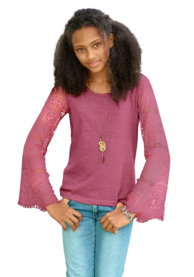 Arizona Langarmshirt mit modischen Ärmeln aus Spitze in rosa