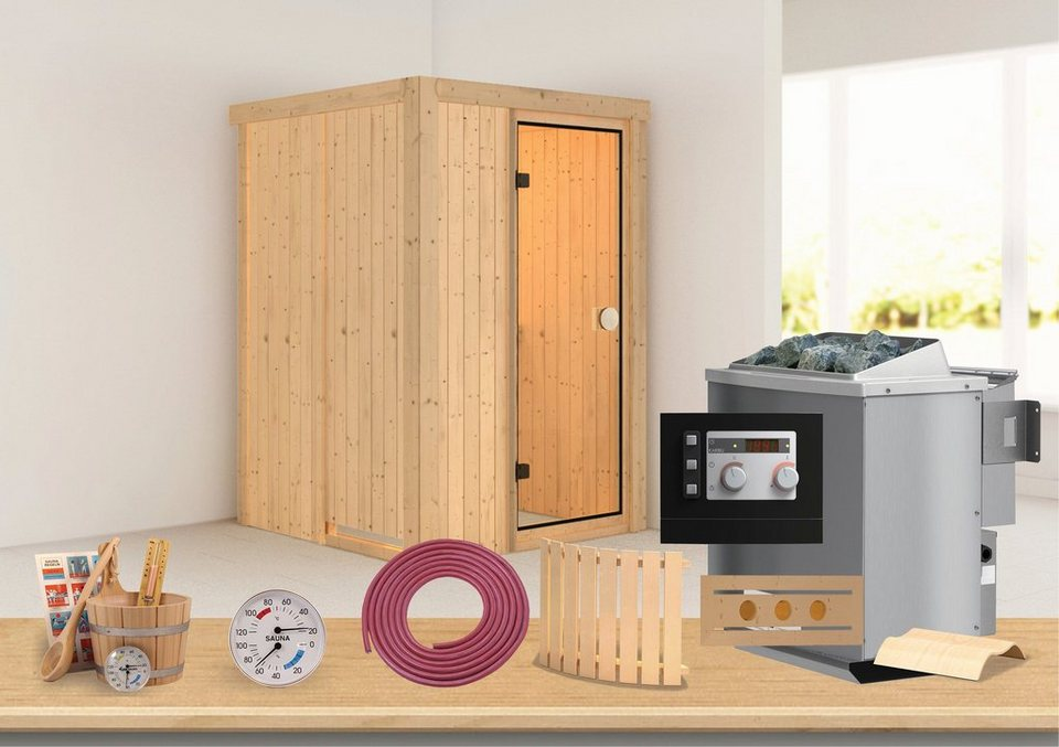 konifera sauna linda 68 mm 135 135 198 cm 9 kw bio ofen mit ext steuerung online kaufen otto. Black Bedroom Furniture Sets. Home Design Ideas