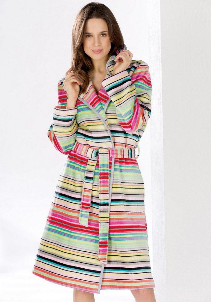 Damenbademantel, Cawö, »Short Stripes«, mit Streifen-Design in multi