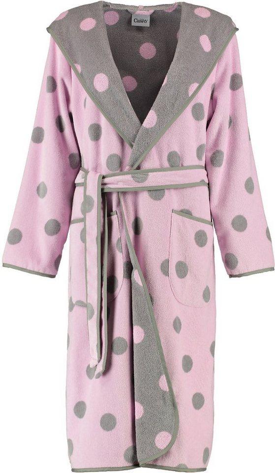 Damenbademantel, Cawö, »Große Tupfen«, mit Punkten in rosé