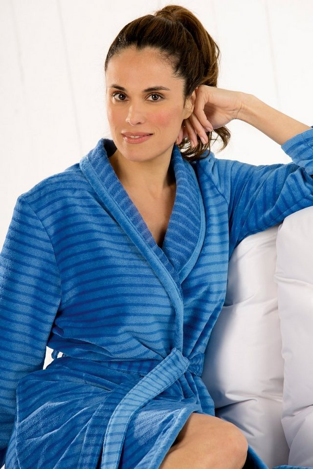 Damenbademantel, Cawö, »Stripes«, mit Schalkragen in blau