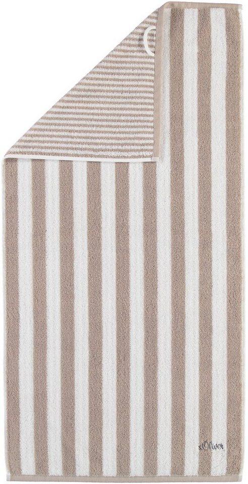 Saunatuch, s.Oliver RED LABEL, »Wendestreifen Stick«, mit Wendedesign in sand