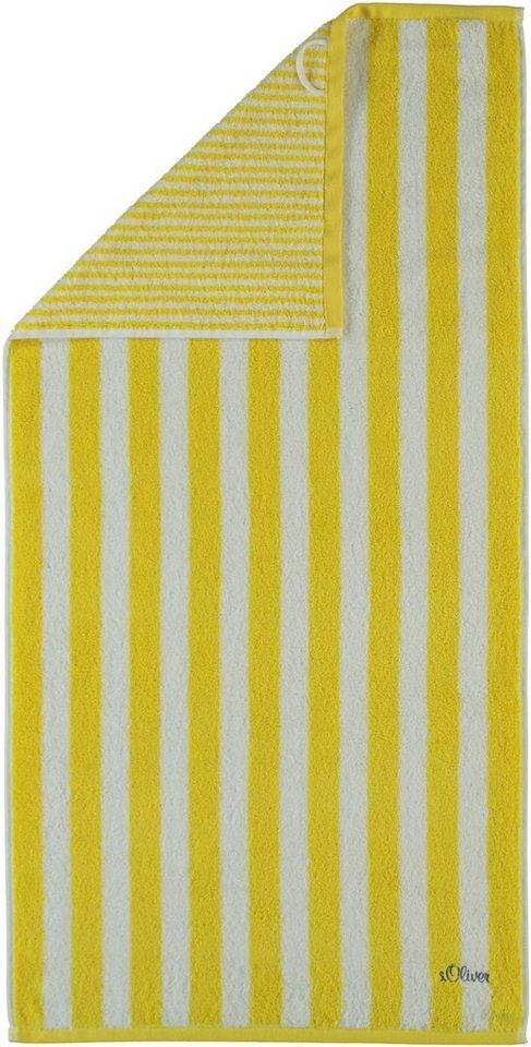 Saunatuch, s.Oliver RED LABEL, »Wendestreifen Stick«, mit Wendedesign in gelb