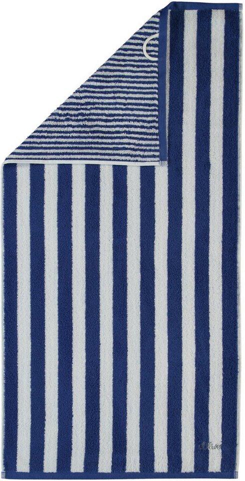 Saunatuch, s.Oliver RED LABEL, »Wendestreifen Stick«, mit Wendedesign in navy