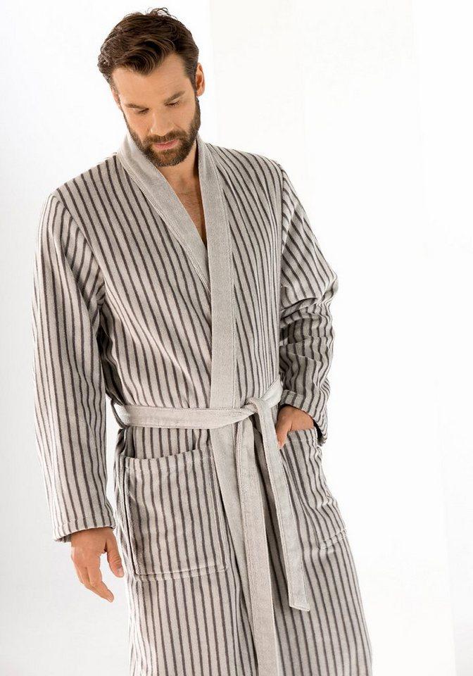 Herrenbademantel, Cawö, »Kimono«, mit Längsstreifen in silberfarben
