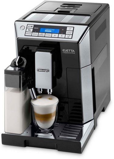 De'Longhi Kaffeevollautomat Eletta ECAM 45.766B, mit integriertem Milchsystem, Hochglanz-Schwarz mit Edelstahl-Applikationen
