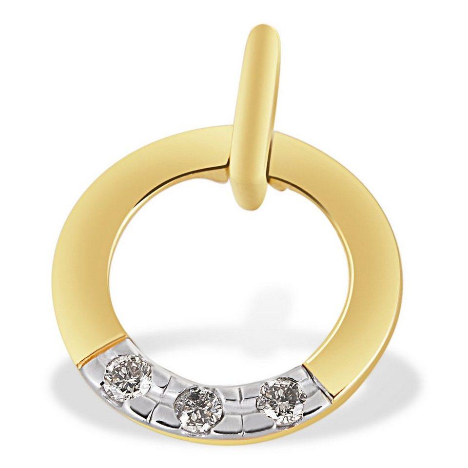 goldmaid Anhänger Memoire 585/- Gelbgold 3 Brillanten 0,08 ct. in goldfarben