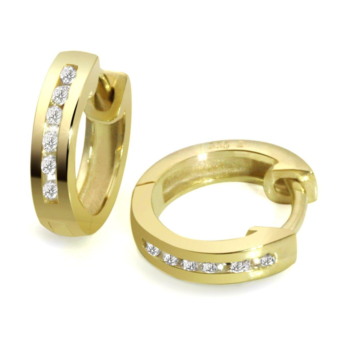 goldmaid Paar Ohrringe Gold 333/- Creolen Zirkonia