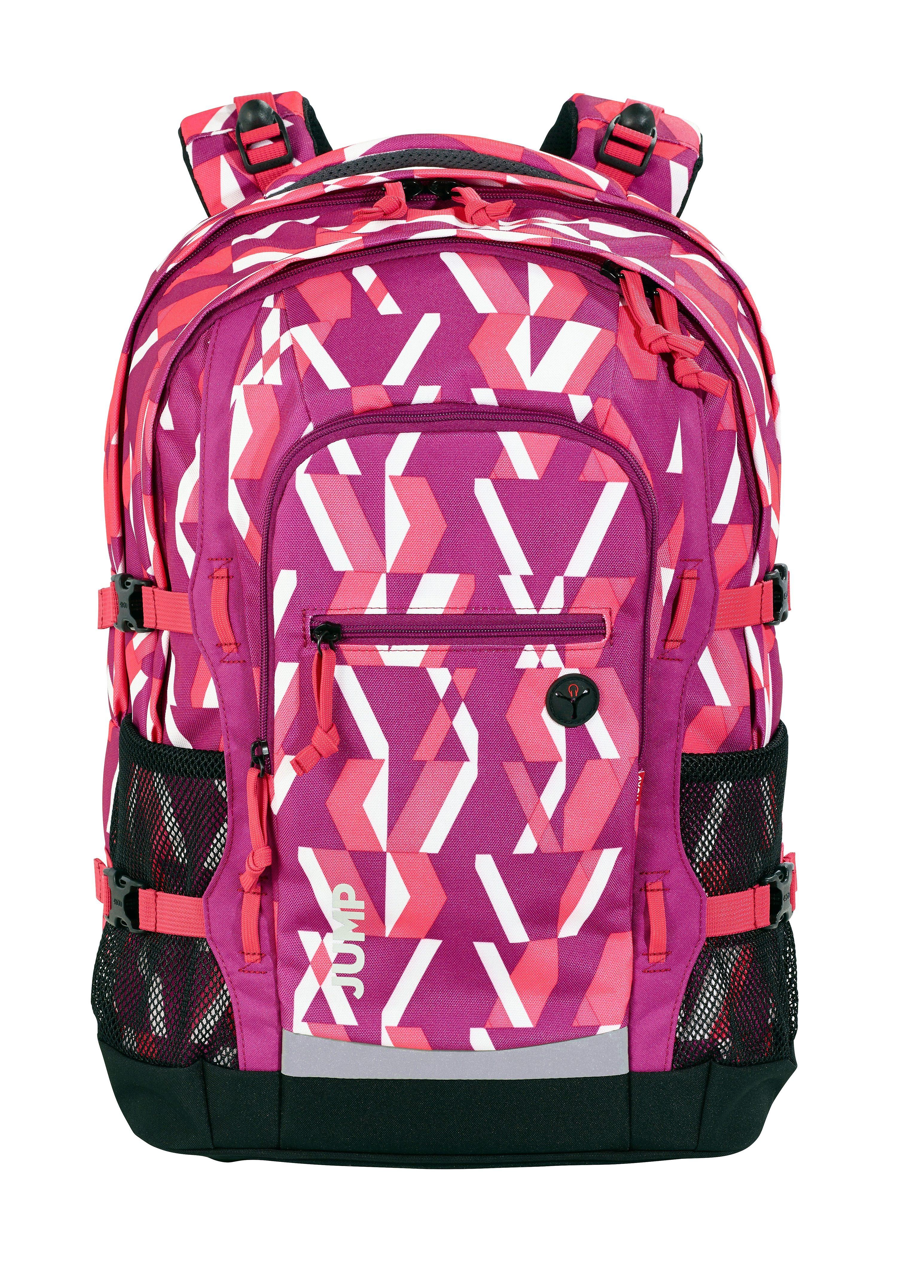 4YOU Schulrucksack mit Laptop- und Tabletfach, »Jump, Chequer Pink«