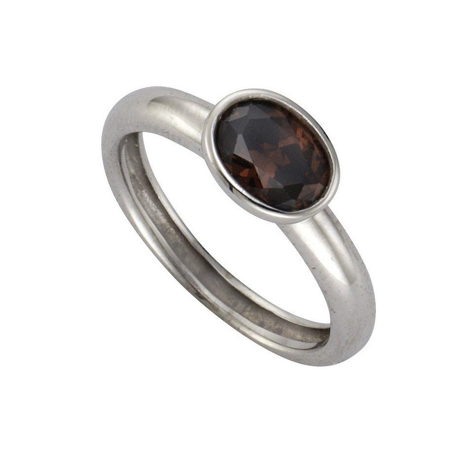 Zeeme Ring »925/- Sterling Silber Zirkonia braun« in weiß