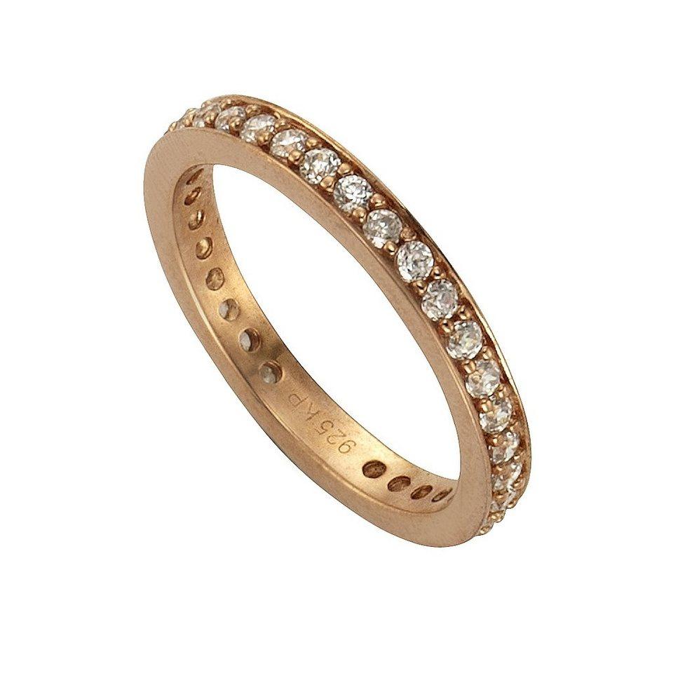 Zeeme Ring »925/- Sterling Silber rotverg. Zirkonia weiß« in rot