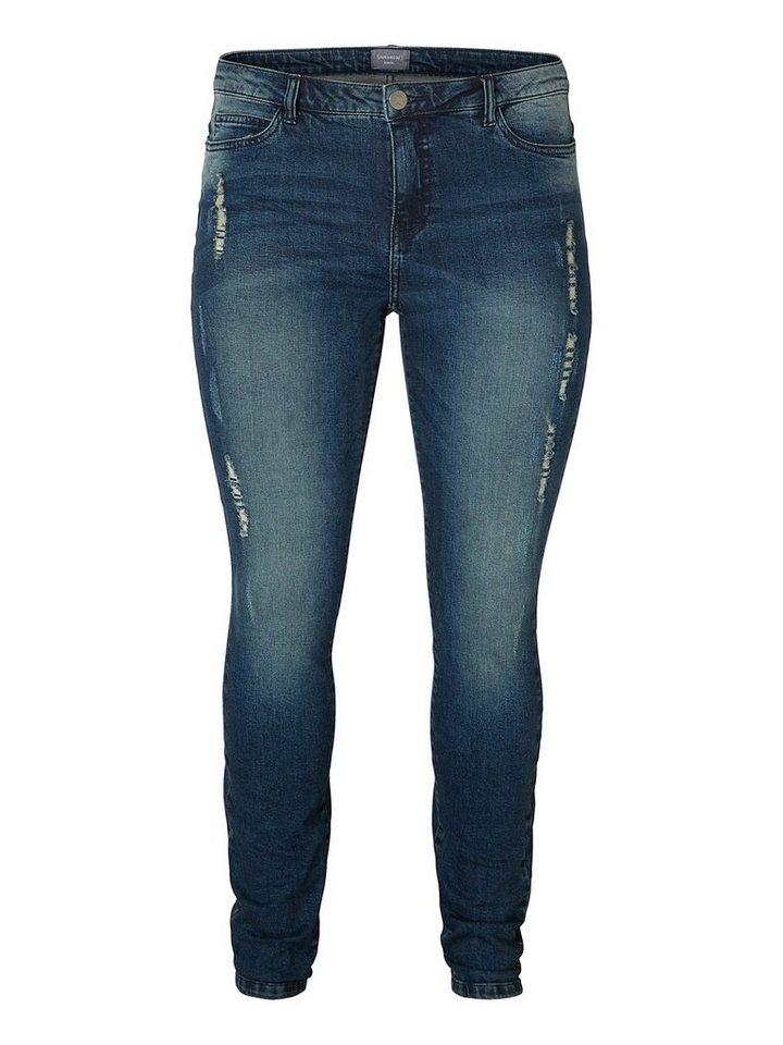 JUNAROSE Used-Effekt Jeans in Medium Blue Denim
