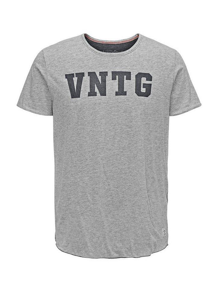 Jack & Jones Used-Look Regular Fit T-Shirt in Light Grey Melange