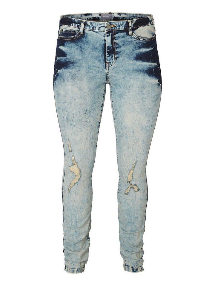 JUNAROSE Destoryed-Effekt Jeans in Medium Blue Denim