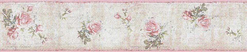 papiertapete livingwalls romantische mustertapete djooz im landhausstil rosen online kaufen. Black Bedroom Furniture Sets. Home Design Ideas