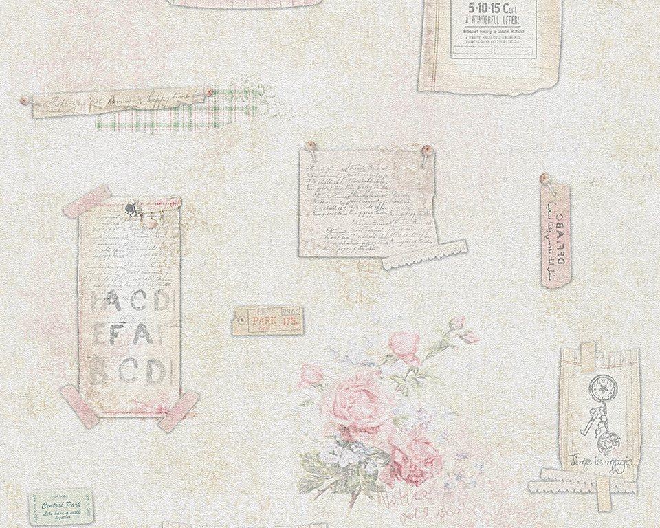 Papiertapete, Livingwalls, »romantische Mustertapete Djooz im Landhausstil« in beige grün rosa