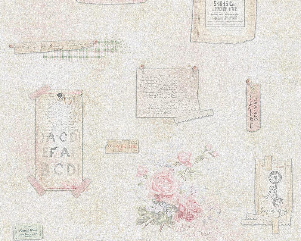 Papiertapete, Livingwalls, »romantische Mustertapete Djooz im Landhausstil«, Textstücke