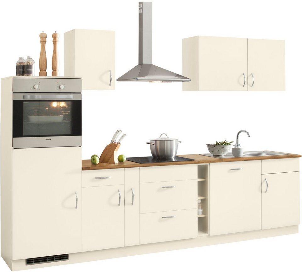 Küchenzeile »Milan« mit E-Geräten, Breite 300 cm in Vanille