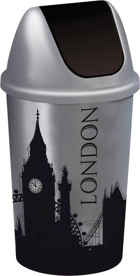 Abfalleimer »Skyline London« in grau/schwarz