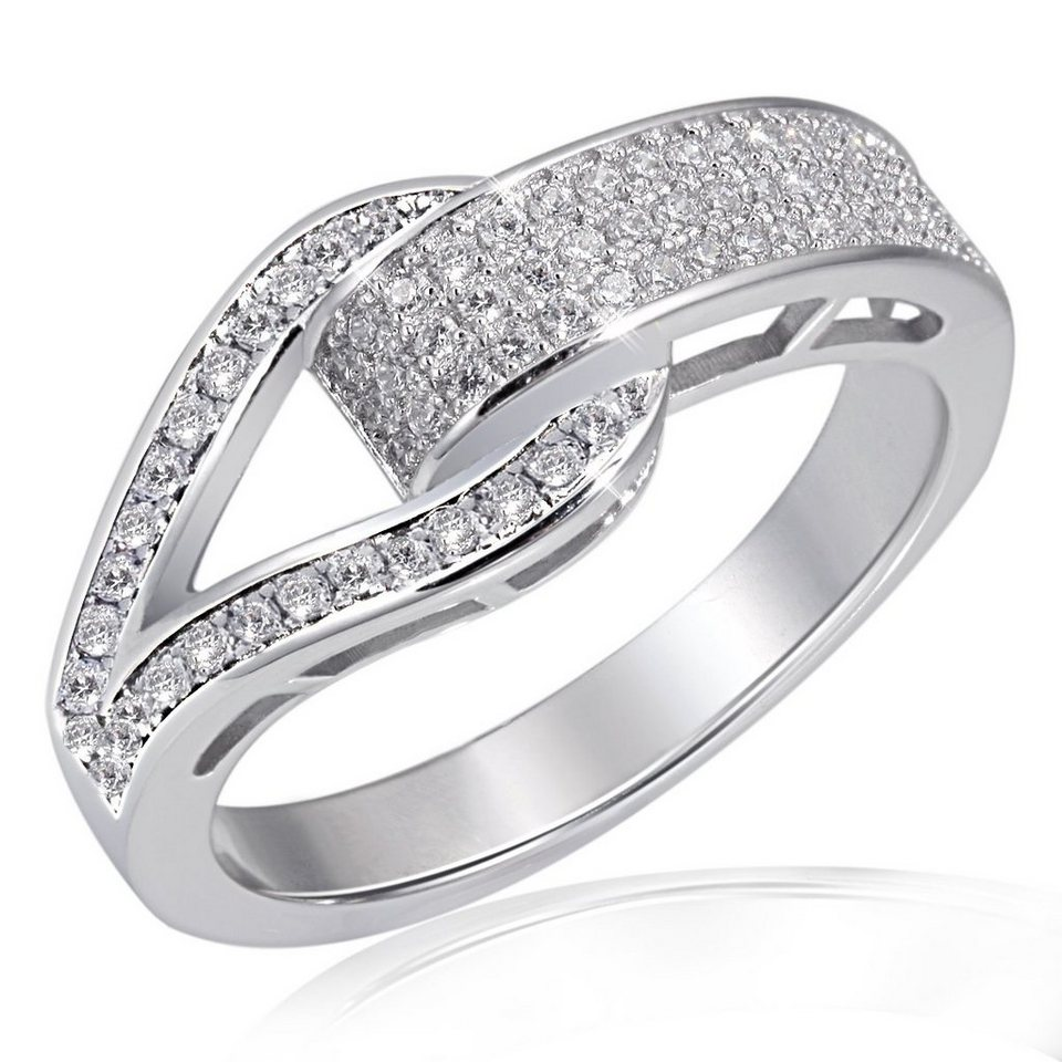 goldmaid Damenring Glitterschnalle PremiumShine 925 Sterlingsilver 79 wei in Silber 925