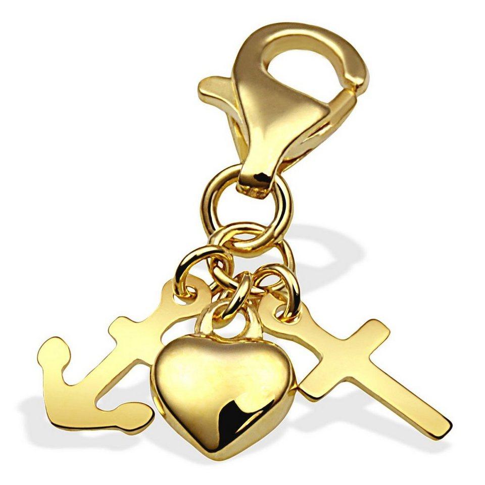 Averdin Charm Gelbgold 333 Liebe Glaube Hoffnung mit Karabiner in goldfarben