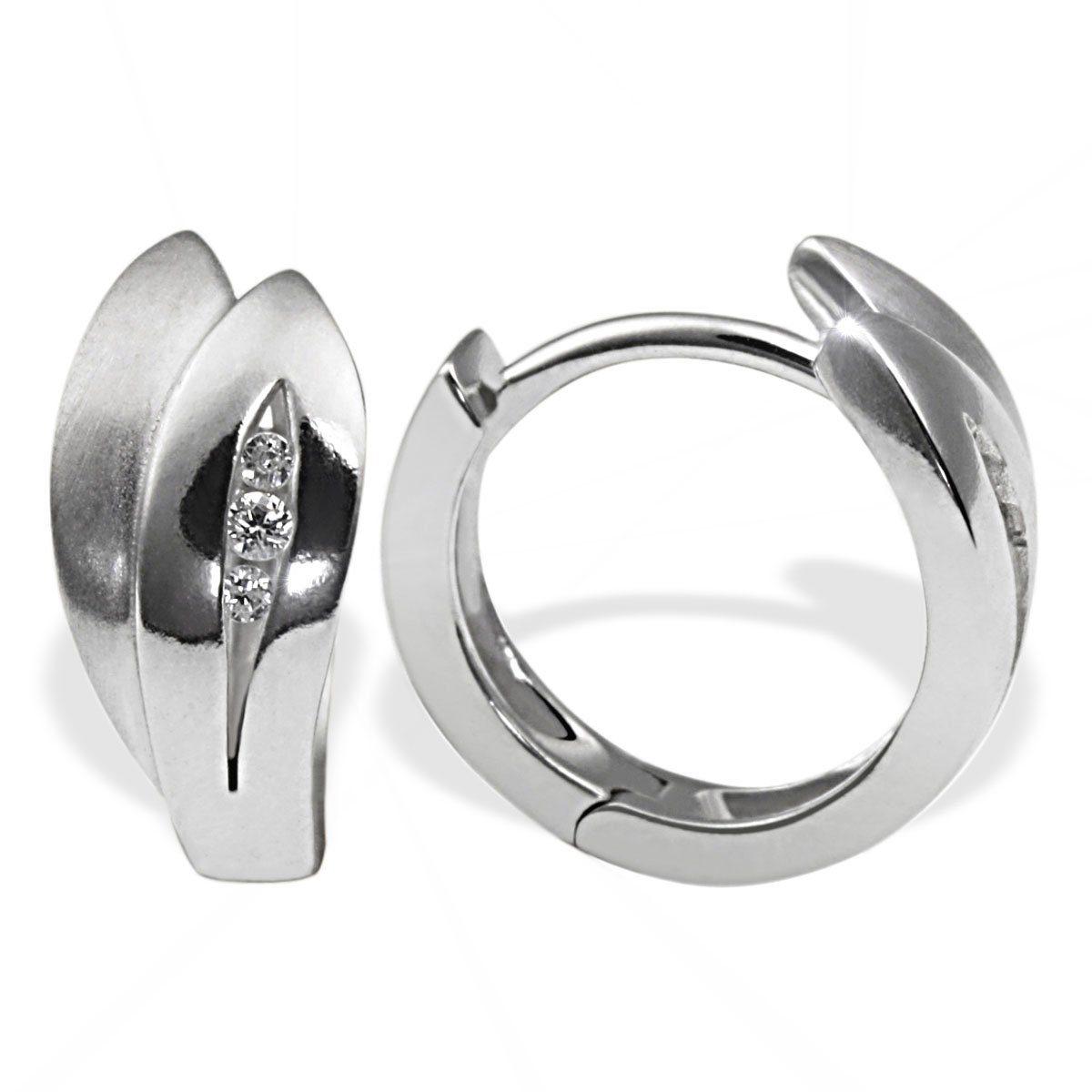 goldmaid Paar Creolen Silber 925/- Zirkonia Blattform teilweise matt