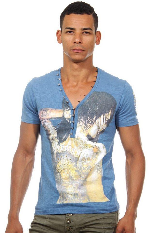KINGZ Henley T-Shirt slim fit in indigo