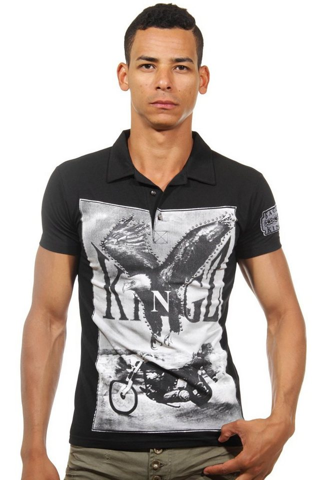 KINGZ Poloshirt slim fit in schwarz
