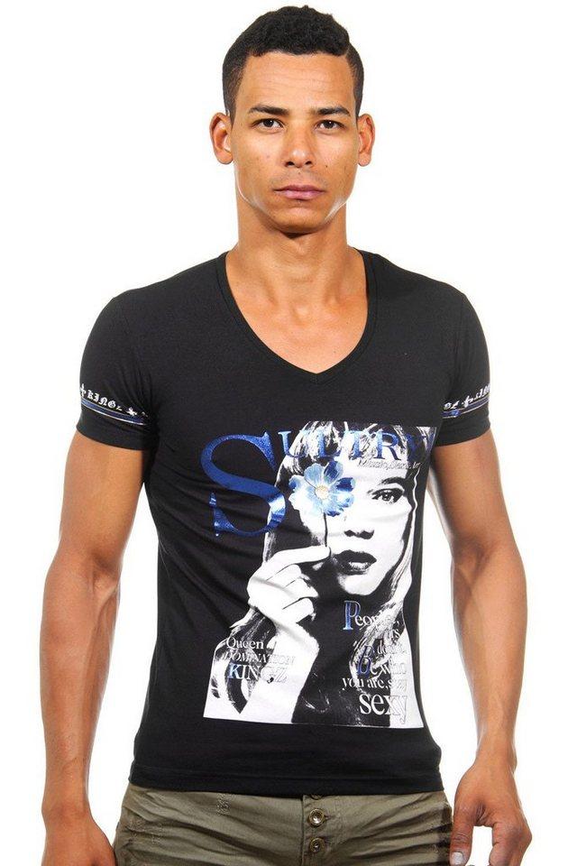 KINGZ T-Shirt V-Ausschnitt slim fit in schwarz