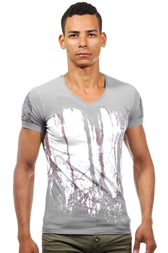 KINGZ T-Shirt V-Ausschnitt slim fit in grau