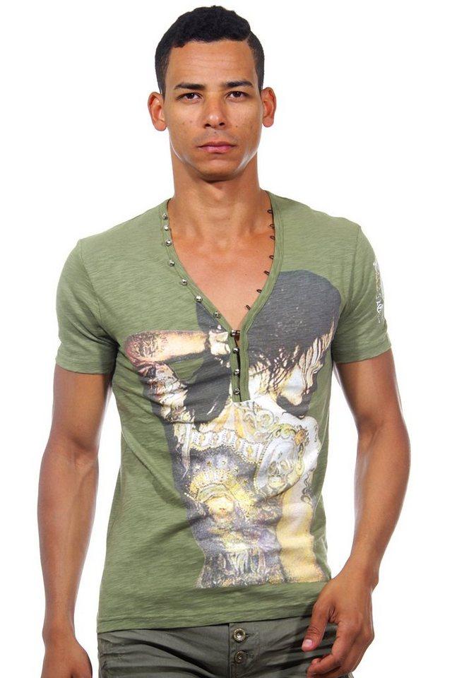 KINGZ Henley T-Shirt slim fit in khaki